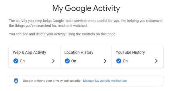 Google My Activity Page