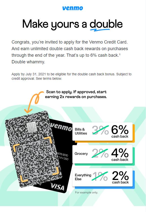 Venmo Credit Card promotion offer
