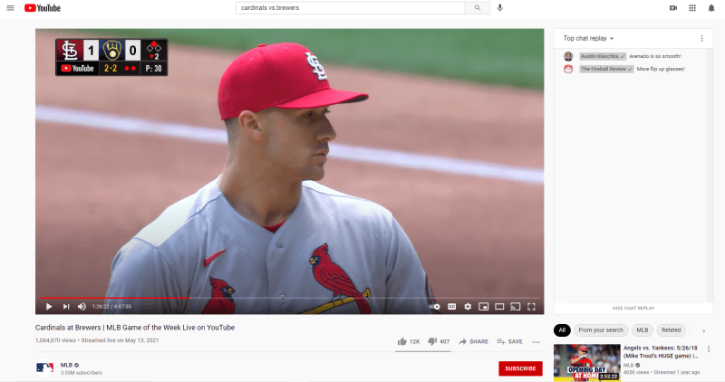 YouTube offers live MLB games