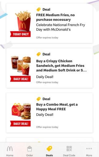 Daily deals in McDonald's app