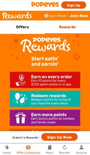 Popeyes rewards via app