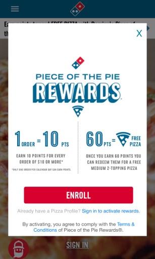 Domino's pIzza app deals