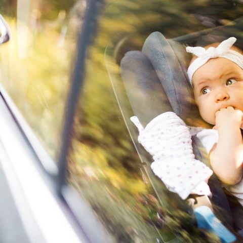 safe car with baby in car seat