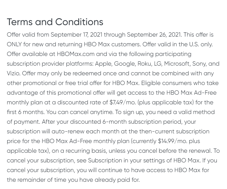 HBO Max discount terms and conditions