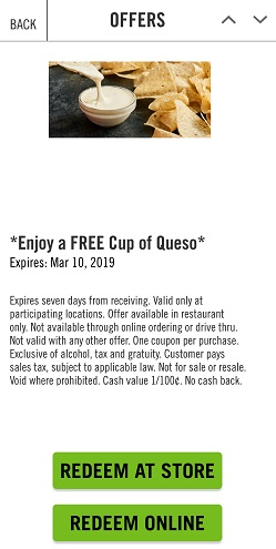 Moe Rewards - Free queso offer