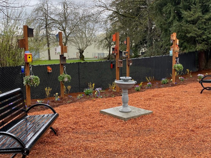 WHS woodworking student created birdhouses at the new Downtown Community Gardens park in Washougal