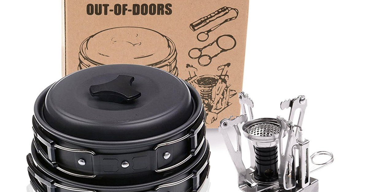 Wolfyok outdoor camping cookware set with stove for $17