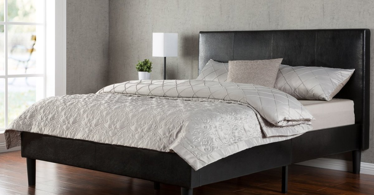 King Zinus Deluxe Faux Leather platform bed for $179 shipped, queen for $149