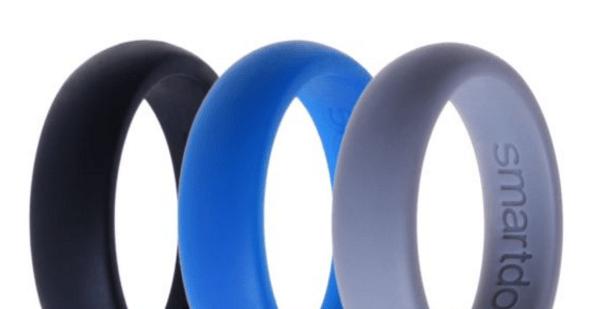 three silicone wedding rings