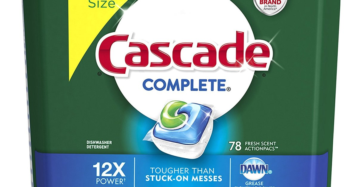 Cascade Complete ActionPacs 78-count dishwasher detergent for $10