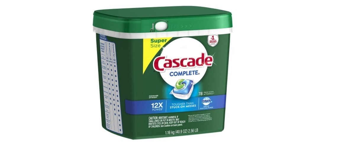 78-count Cascade Complete ActionPacs dishwasher detergent for $9