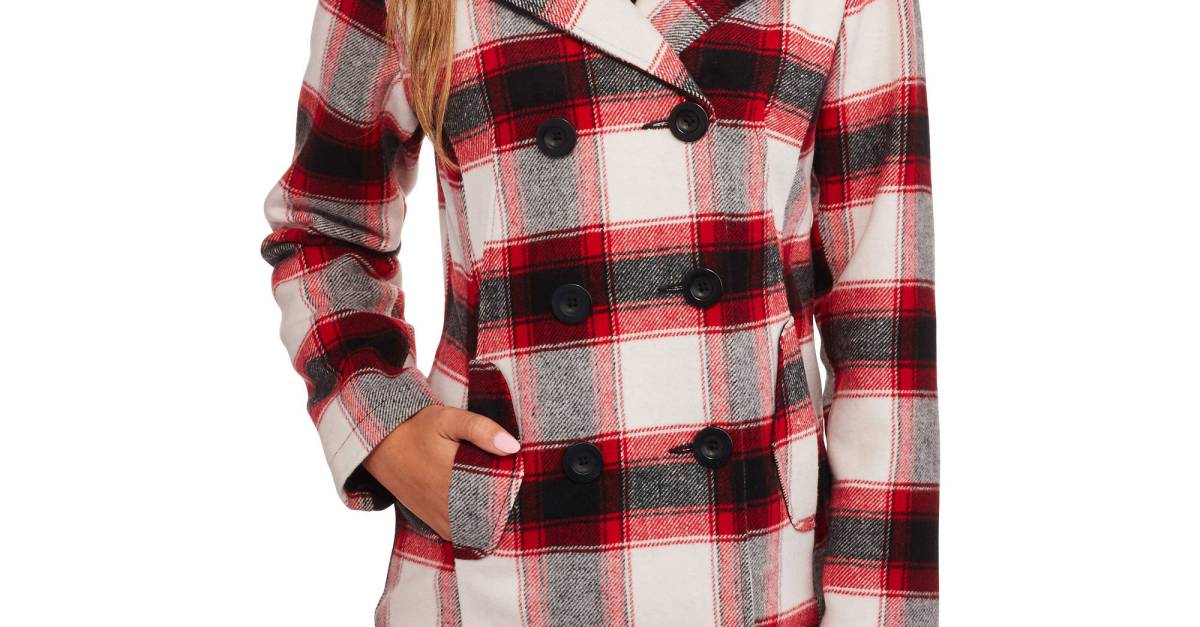 Faded Glory women's double-breasted faux wool peacoat with hood for $20