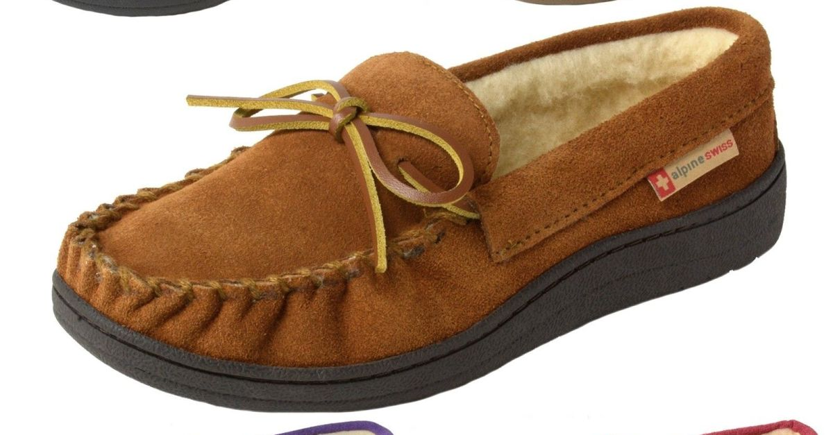 Alpine Swiss women's suede shearling moccasin slippers for $15, free shipping