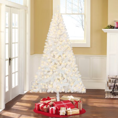 Holiday Time Christmas Tree.Holiday Time Pre Lit 6 5 Madison Pine White Artificial