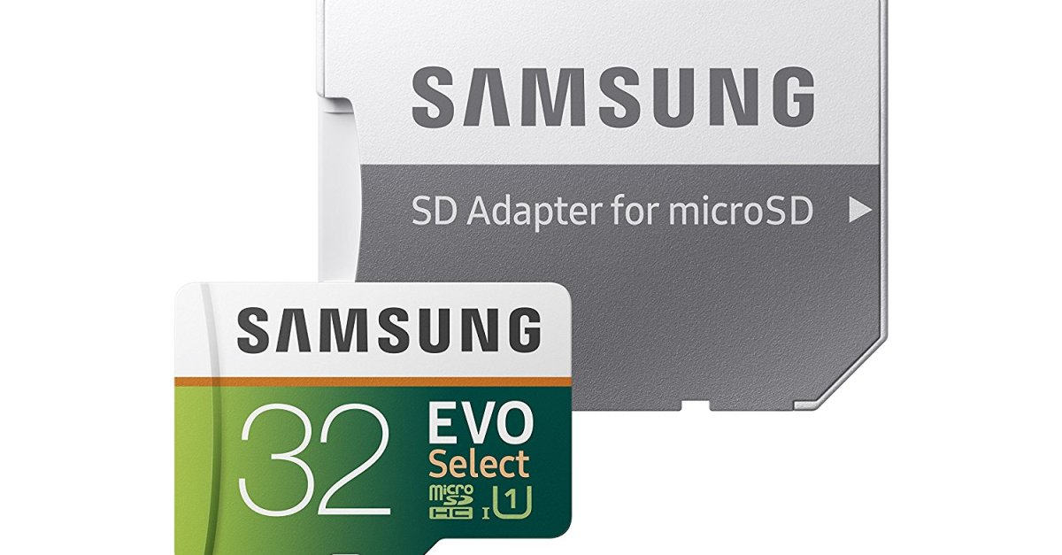 Samsung 32GB MicroSD EVO Select memory card with adapter for $8, 64GB for $13