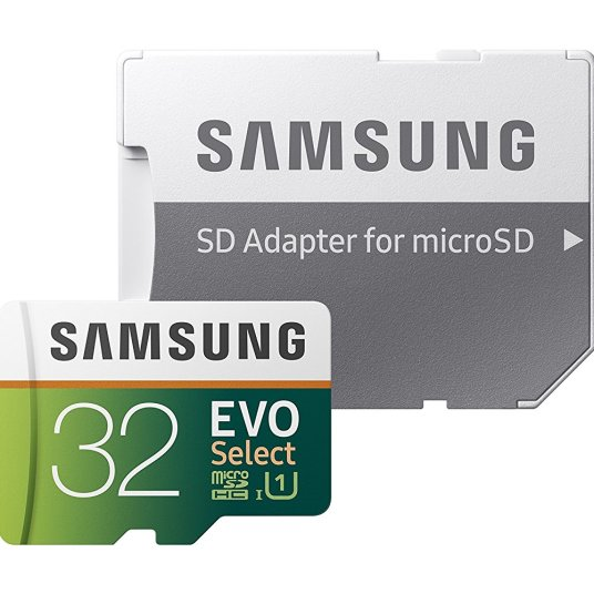 Samsung 32GB MicroSD EVO Select memory card with adapter for $7, 64GB for $11
