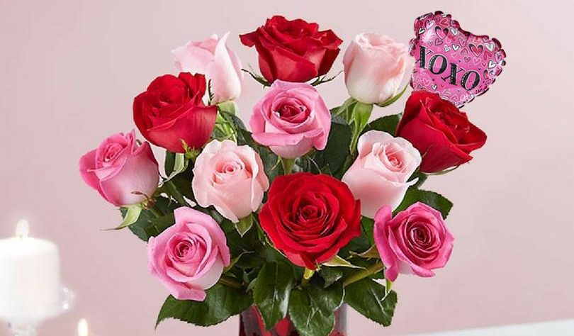 Select Valentine's Day flowers with vase and mini balloon from $35