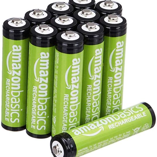12-count AmazonBasics rechargeable AAA batteries for $10