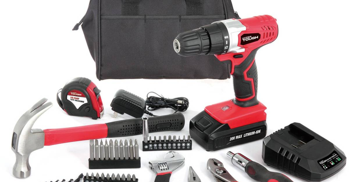 Hyper Tough 20V max lithium ion drill with 70-piece project kit for $40, free shipping