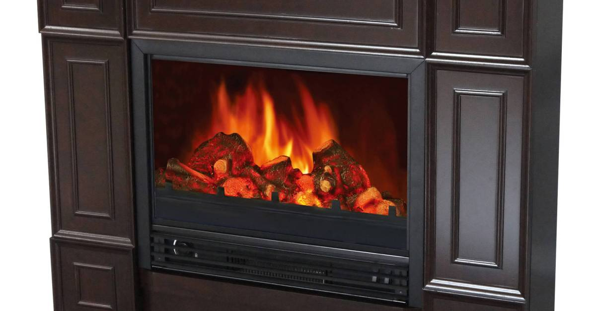 Decor-Flame electric fireplace space heater with 44″ mantle for $99