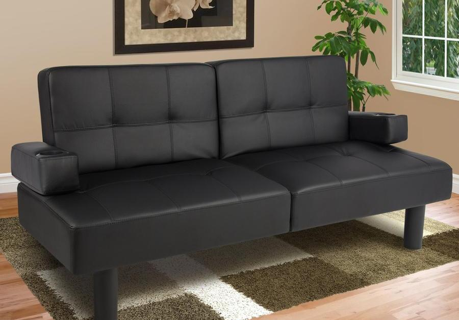 Faux leather futon sofa bed for $170 shipped