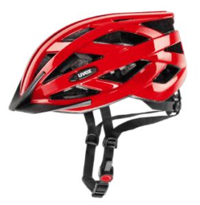 red uvex bike helmet
