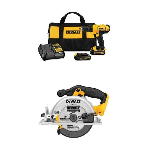 Today only: Dewalt 20v max cordless lithium-ion 1/2 inch compact drill driver kit with circular saw for $138