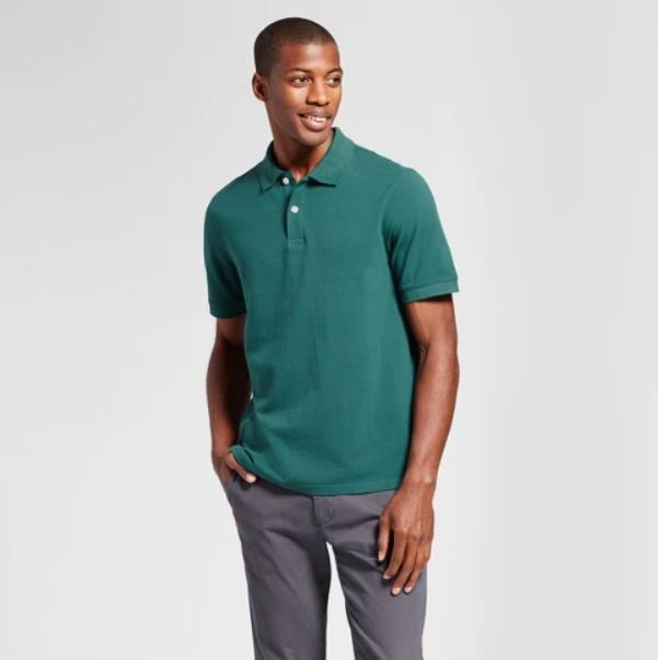 Men's standard fit fade resistant pique polo shirt for $5