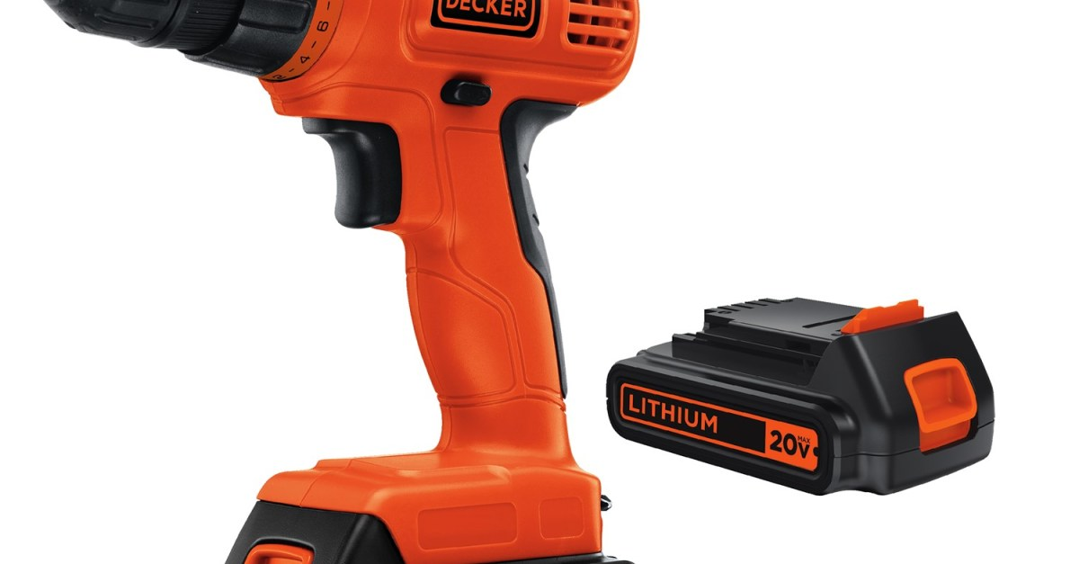 Black+Decker 20V max lithium ion cordless drill with 2 batteries for $38