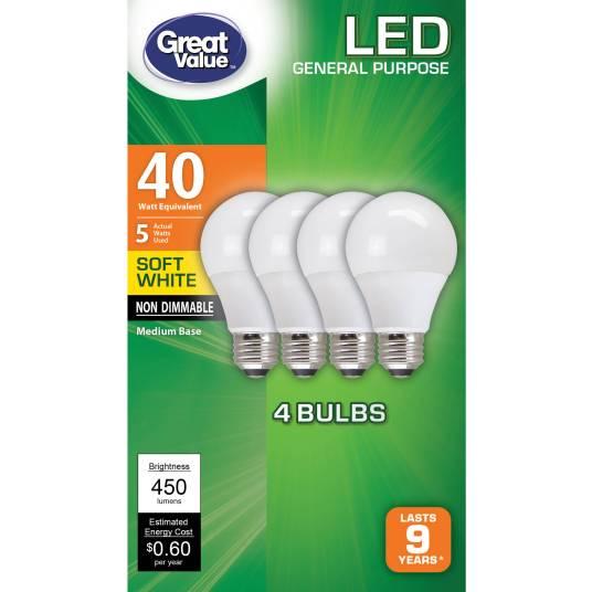 4-pack Great Value LED light bulbs for $5