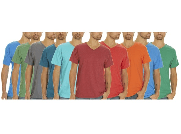 5-pack Fruit of the Loom men's V-neck tees for $16