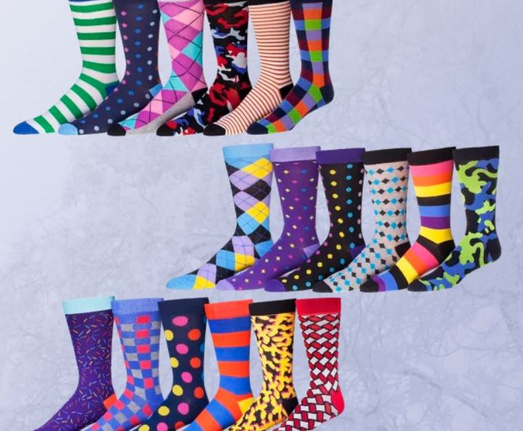 Today only: 6-pack men's funky socks for $15 shipped