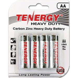 4-pack Tenergy 4AA heavy-duty carbon zinc batteries for 28 cents