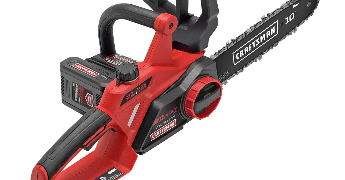 Craftsman 24V max 10″ electric cordless chainsaw for $100, free shipping