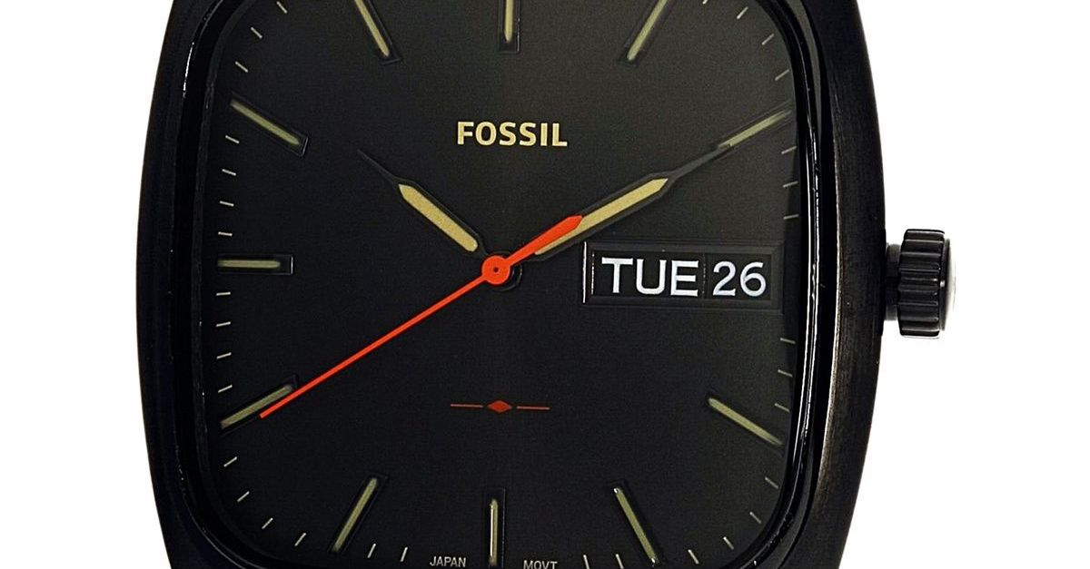 Fossil men's Rutherford black stainless-steel quartz watch for $82