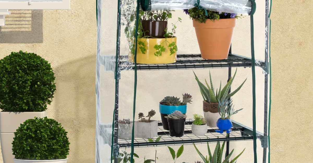 Pure Garden mini greenhouse with cover for $19