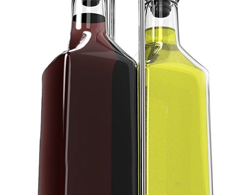 Royal oil and vinegar bottle set with stainless steel rack for $14