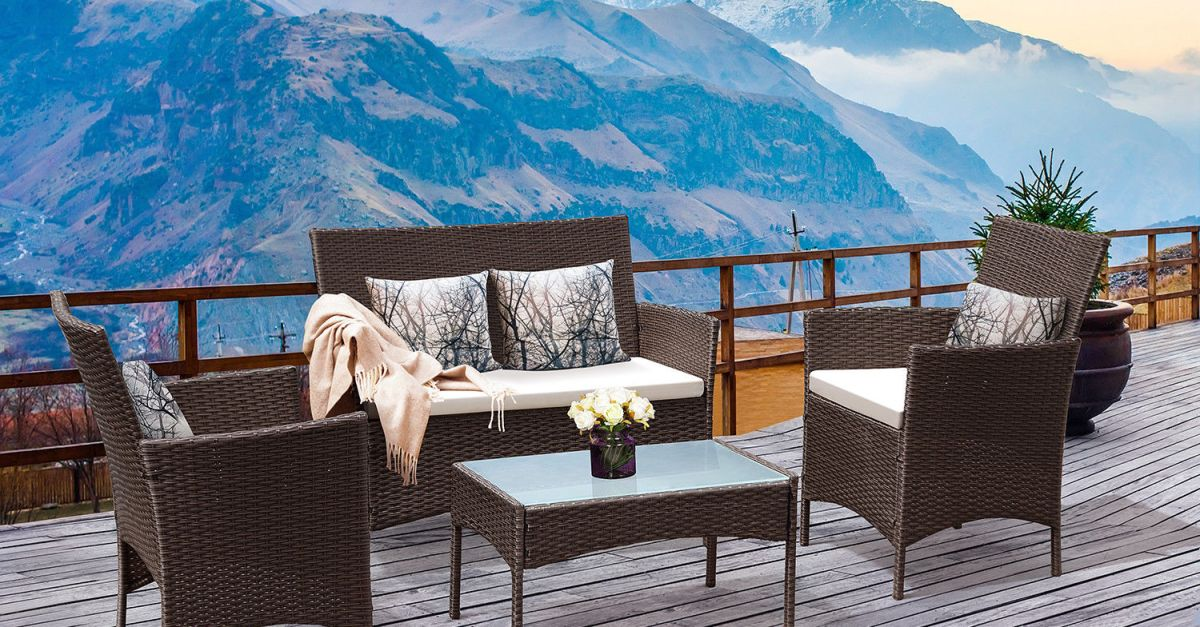 Costway 4-piece patio rattan wicker chair sofa table set for $160