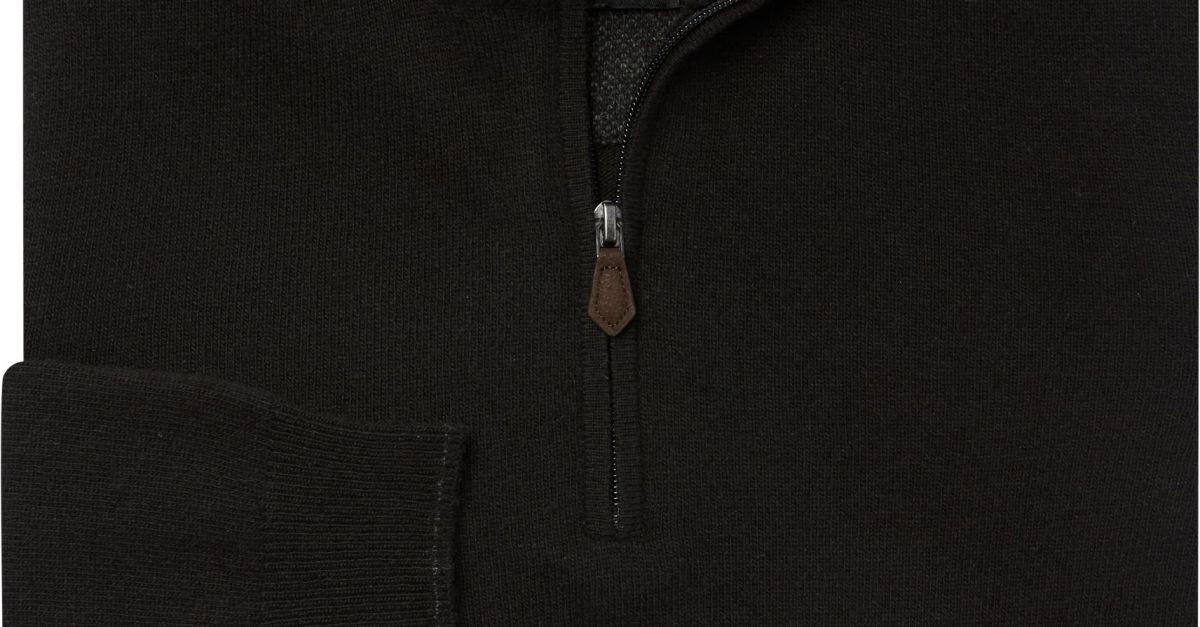 Quarter-zip Merino wool blend sweater for $20