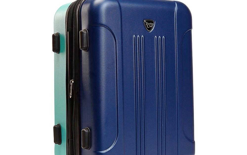 Travelers Club 20″ hardside colorblock suitcase for $30, free shipping
