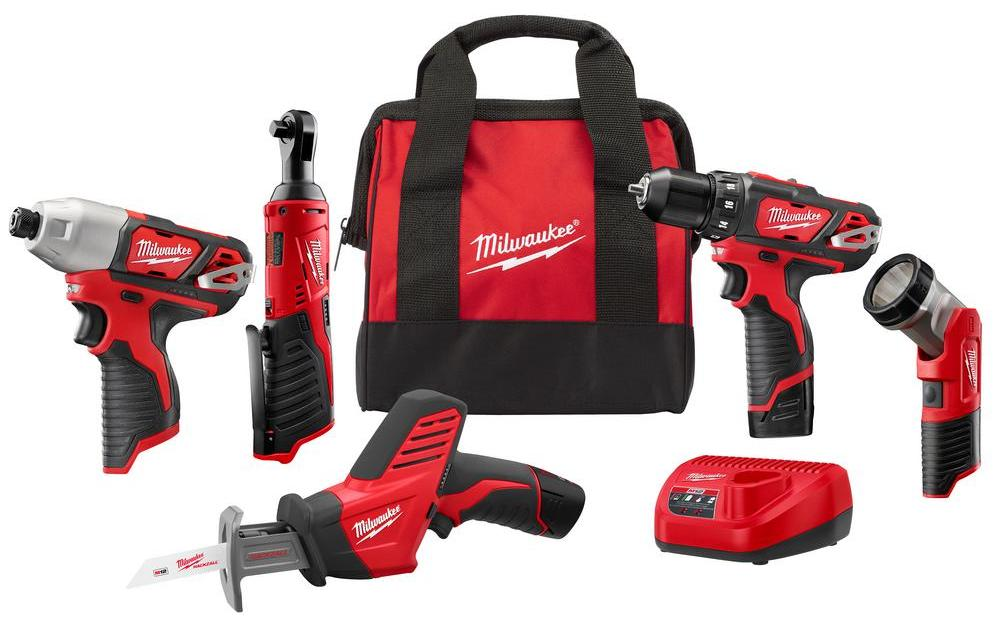 5-tool Milwaukee M12 12-volt lithium-ion cordless combo kit for $199