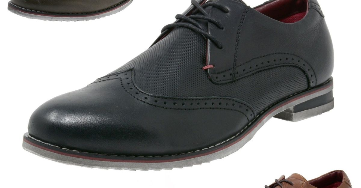Price Drop! Alpine Swiss men's genuine leather cap toe Oxford dress shoes for $18