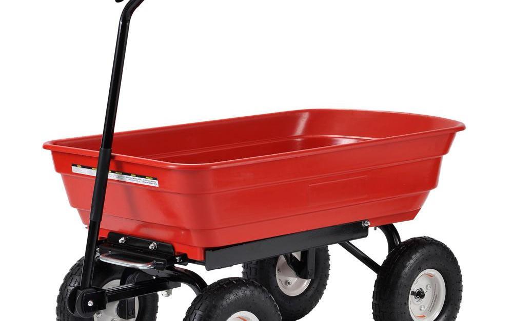 Muscle Rack plastic garden dump cart for $35
