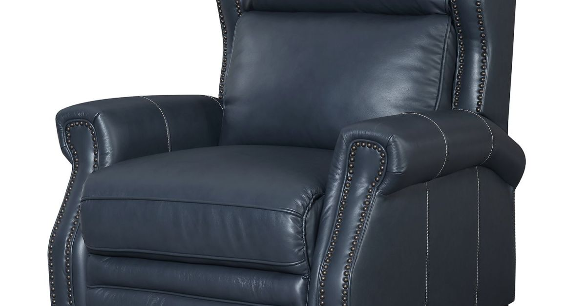 Reagan leather press back recliner for $250