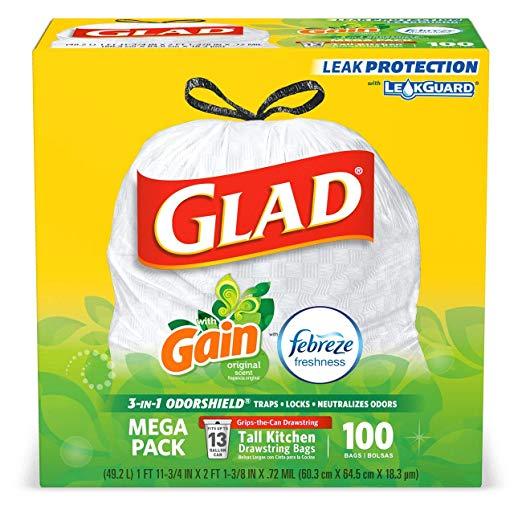 100-count Glad 13-gallon OdorShield trash bags for $13