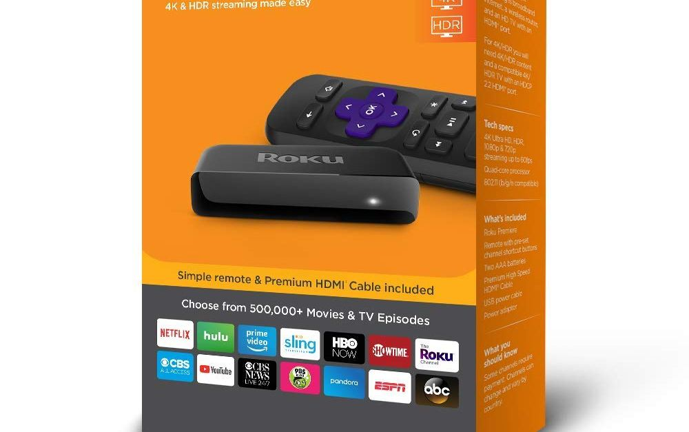 Roku Premiere 4K HDR streaming media player for $30, free shipping