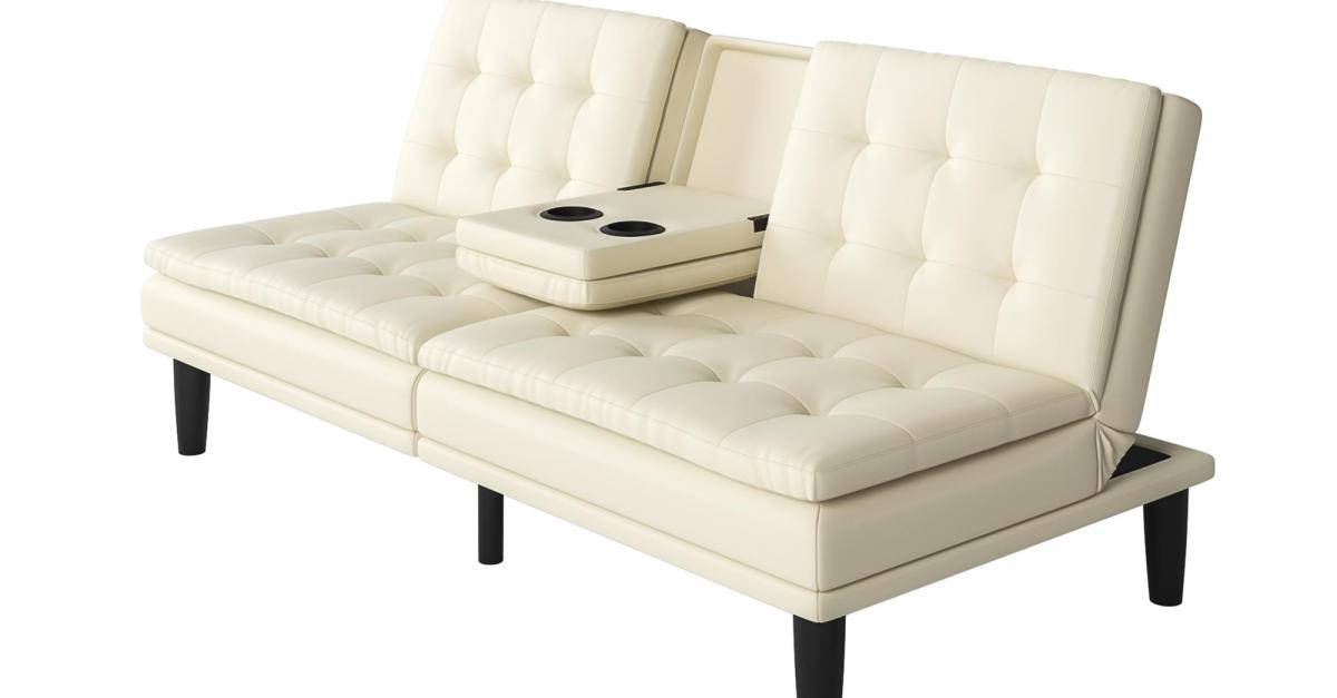 Mainstays memory foam Faux leather futon for $190