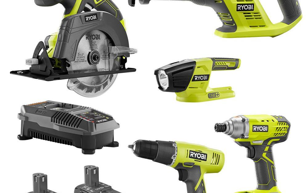 5-tool Ryobi 18V ONE+ kit with 2 batteries for $149
