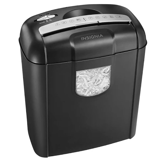 Insignia 6-sheet paper shredder for $25, free shipping
