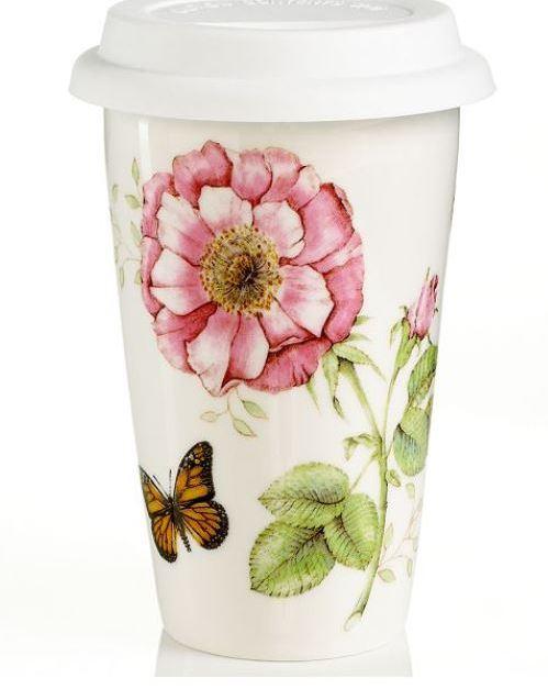 Lenox porcelain butterfly thermal travel mug for $6